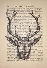 Framed Print - Grand Stag Head Drawing on Book Paper (Picture Poster Animal Art)
