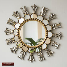 "Silver & Gold Round Wall Mirror 17.7"", Hand carved Accent Mirrors wall decor"