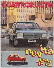 QUATTRORUOTE 2/1972 FIAT 130 3200 – SIMCA 1.1 SPECIAL – PEUGEOT 204 BREAK DIESEL