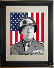 George S. Patton American Flag World War 2 WWII Framed Photo Photograph