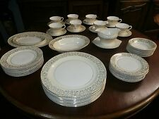 52 Pc. Edwin M Knowles Semi Vitreous Gold Floral China Set Service for 8 plus