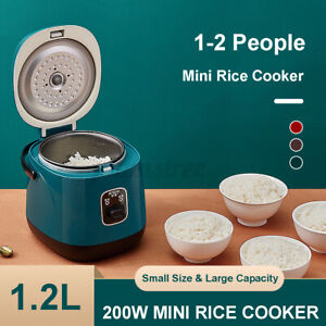Electric Rice Cooker 1.2L Portable Mini Rice Cook 1-2Person W/Steaming Plat
