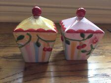 Vintage And rare! Mary Engelbreit Sakura Cherry Blossom Salt and Pepper Shakers