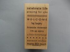 STAMPIN' UP RUBBER STAMPS CELEBRATE LIFE WELCOME NEW wood STAMP