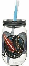Star Wars Mason Jar Style Plastic Tumbler with Straw - Darth Vader, Storm Troope