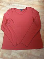 Eileen Fisher Silk Orange Long Sleeve Top Shirt Blouse L Large