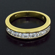 18K Yellow Gold 1.00ctw 8 Channel Set Round Brilliant Diamond Wedding Band Ring