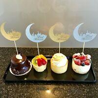 10 x Eid Mubarak Cupcake Topper Dessert Decorations Mixed Gold & Silver Ramadan