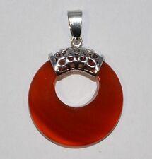 Anhänger,Pendant Stein Rot Achat Donut form Donuthalter Silber plattiret