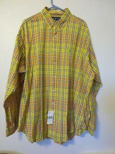 Ralph Lauren men's shirt Blake XXL yellow plaid NEW NWT cotton