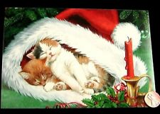 Christmas Kittens Cats Sleeping in Santa Hat Candle - Religious Christmas Card