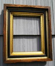 Unusual Antique Double Gold Gilt Liner Carved Picture Frame Black Trim 8 x 10