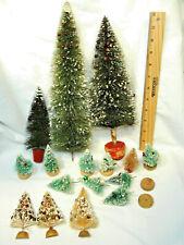 """16 Vtg Christmas Bottle Brush Tree Lot 14""""-2 3/4"""" Snow, Balls, Half-Tree, Japan"""