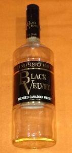 Souvenir Vintage Empty Quart Black Velvet Blended Canadian Whiskey Bottle