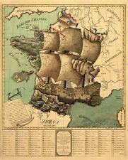 Reproduction Antique Old Colour Map Plan of France as a Ship French Revolution