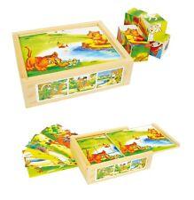 "Puzzle a cubi ""Animali divertenti"", 12 dadi cm 3,5 per 6 figure"