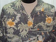 Men's LARGE Tommy Bahama Short Sleeve Hawaiian Shirt 100% Silk TROPICAL Hibiscus