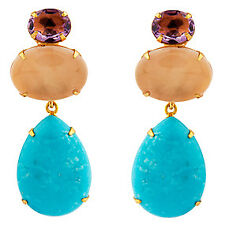 Amethyst, Rose Quartz & Turquoise Convertible Earrings