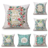 3d Home Cotton Linen Car Bed Sofa Throw Pillow Case Sweet Flower Square Cover
