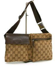 【Rank B】 Authentic Gucci GG Canvas Body Waist Bag Crossbody Unisex 28566 Italy