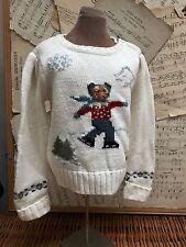 Ralph Lauren SKATING TEDDY BEAR Sweater Ivory 3 Girls Snowflake Buttons 3T