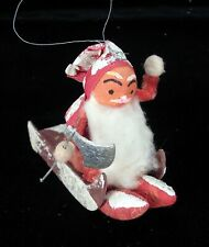 Vintage Chenille Cotton VIKING SANTA with Axe & Sleigh Figure Japan 1920's MINT