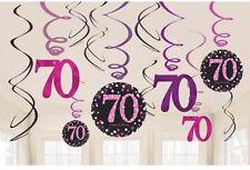 12 x 70th anniversaire pendant tourbillons noir & Rose Décoration de fête âge 70