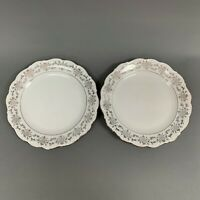 Bavarian Romance Dinner Plates Bavaria Germany White Platinum Trim Lot of 2