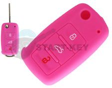 VW Seat Skoda Key Silicone Case Cover Polo up Tiguan Ibiza Fabia Golf Pink