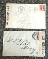 2 CENSOR COVERS - 1917 GR. BRITAIN TO USA & 1941 N.S. CANADA TO USA