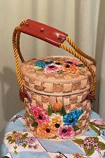 Sweet Vintage 50s 60s Straw Floral Basket Drum Handbag Purse w Rope Handle
