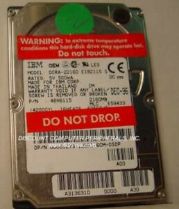 """DCRA-22160 IBM 2.1GB 2.5"""" 17MM IDE 44PIN Hard Drive Tested Good Our Drives Work"""