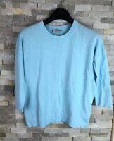 Hobbs Ladies Size XS blue Cotton Wool Blend Long Sleeve Top