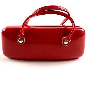 Eyeglasses Hard Case Red Purse Style w/Hinge
