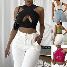 Women Crisscross Cut Out Vest Halter Wrap Crop Top Cami Tank Tops Blouse Shirt