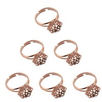 6 Adjustable Filigree Flower Cup Base Ring Blank for Jewelry Making Craft