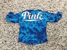 Victoria's Secret PINK VS Tie-Dye Boyfriend Varsity Crew Sweatshirt Sz L Blue