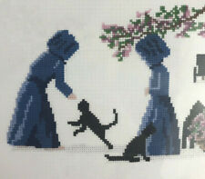 Amish Cross Stitch Kit Black Cat Kitten Country Farm Floral NEW Diane Graebner g