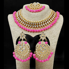 Bridal Necklace Earring Tikka Jewelry Indian Bollywood Pink Gold Plated Kundan