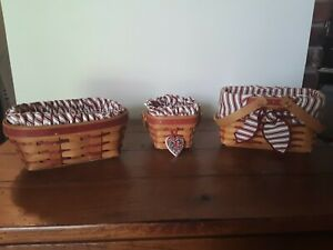 Set of 3 Small Longaberger Baskets  with Liners