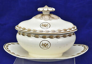 Antique Armorial Wedgwood Creamware Sauce Tureen Circa 1790