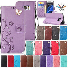 Butterfly Pattern Leather Wallet Card Stand Case Cover For Samsung Galaxy Phones