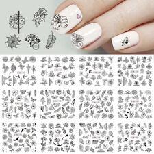 12 Types/Nail Art Black Decal Water Transfer Sticker DIY Flower Rose Manicure--