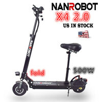NANROBOT X4 2.0 Adult Electric Scooter Foldable With seat 48V 500W US Ship