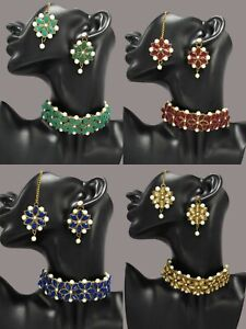 Kundan Choker Necklace Bollywood Gold Plated Bridal Pearl Indian Jewelry Set