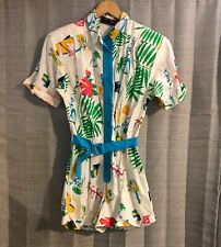 VTG 80s Mademoiselle Tropical Vacation Flamingo Rum Print Shorts Romper Medium