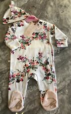 TED BAKER BABY GIRL AGE 6-9 MONTHS SLEEPSUIT HAT SET 🎀🌸 BEAUTIFUL BNWT
