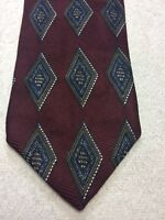 ROBERT TALBOTT MENS TIE BURGUNDY WITH BLUE BROWN WHITE 4 X 65 EXTRA LONG