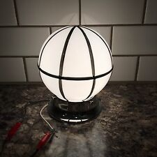 Chrome Flush Mount Fixture With Antique Glass Globe Vintage House Home 14B