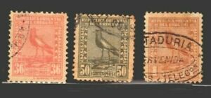 Uruguay bird lapwing Sc #295-7 used XF-S high grade stamps